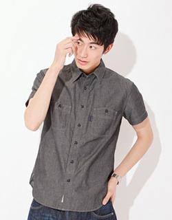 BACK NUMBER 和紙ツイルワークシャツ メンズ ブラック